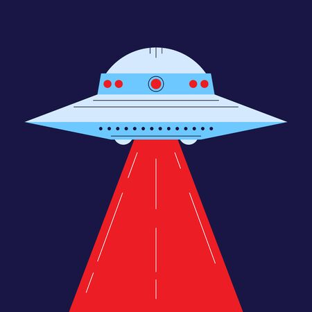 Aliens visit  the earth for research. Aliens steal the earth animals as examples for research. Star ship and aliens on the back. Vector illustration. UFO worlds day.