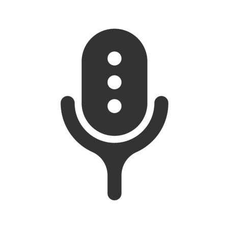 Podcast radio icon illustration. Studio table microphone. Webcast audio record concept