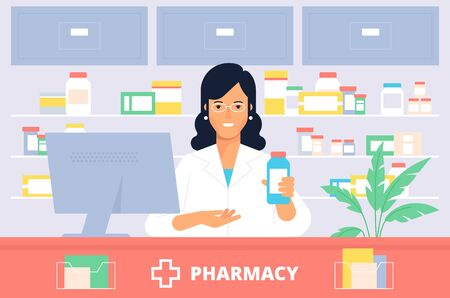 La giovane donna in farmacia. Ottimo design, concetto artistico. Illustrazione di design piatto medico e sanitario. Vettoriali