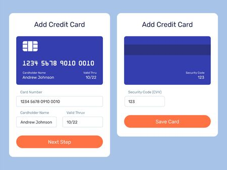 Add credit card web element from the mobile app. UI element, form, pop up.