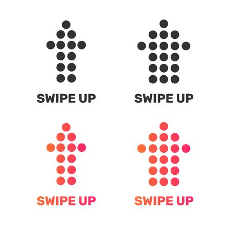 Swipe up buttons. Simple vector design for the social network promotion.