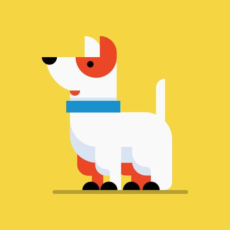 Icon or information plate design for security services business or purposes with the flat design dog. Vector, flat design. Illustration