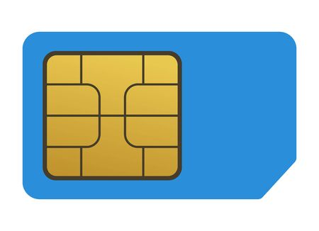 Simple sim card vector object, chip on a blue background.