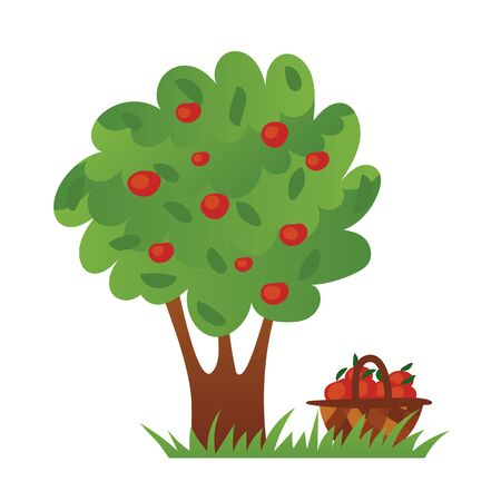 Apple tree with ripe red apples and apple basket on the green grass.