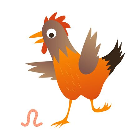 Cute chicken with the worn illustration. Illustration for kids book. Banque d'images - 129554886