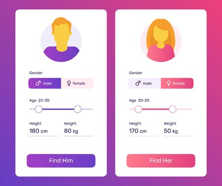 Start a relationship mobile application. UI simple design. Screens for dating app.