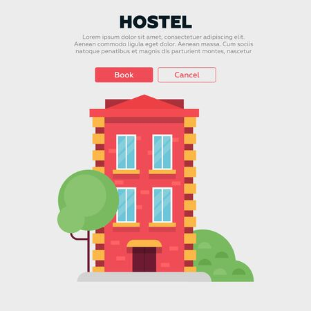 Rent a hostel illustration. House illustration. House icon. Flat vector design. Фото со стока - 129554878