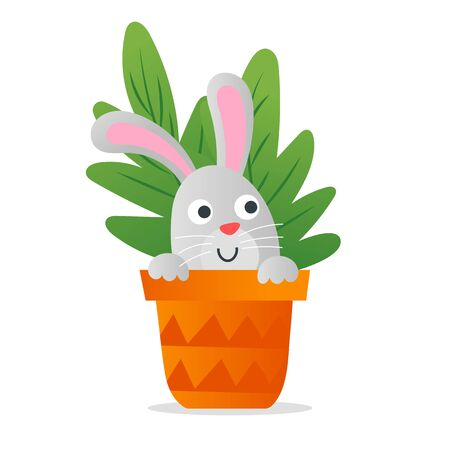 Cute sweet rabbit in the pot. Funny kids illustration good for children book.
