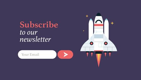 The space shuttle in the space vector flat design illustration. Good concept for business connected. Detailed shuttle in the space. Subscribe to  email form.