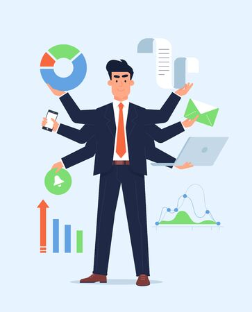 Super productivity manager with the super skills. Diagrams and letters and notebook supportive illustration. Flat simple design. Business graphic.