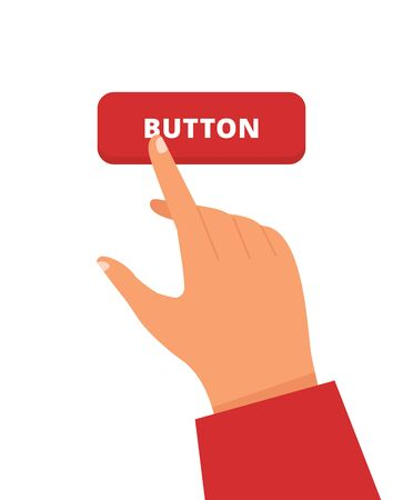 Hand with finger that is pushing the button. Vector flat design illustration.