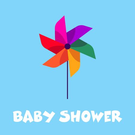 Baby shower greeting card with the cool pinwheel in the center. Kids illustration.