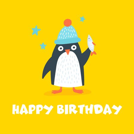 Baby shower greeting card with the cool funny and cute pinguine in the hat with the fish in the center. Kids illustration.