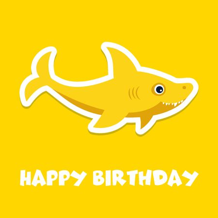 Baby shower greeting card with the cool funny baby shark in the center. Kids illustration.