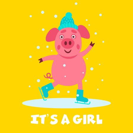 Baby shower greeting card with the cool funny and cute pig on skates in the center. Kids illustration. Illusztráció