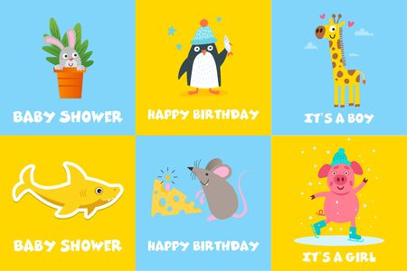 Set of cute greeting cards for children with the different animals. Baby shower, happy birthday greeting cards with the cool animals in the center. Kids illustration.