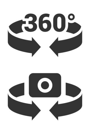 360 degree camera flat vector simple illustration. Rotate and capture on 360 degree concept.  Иллюстрация