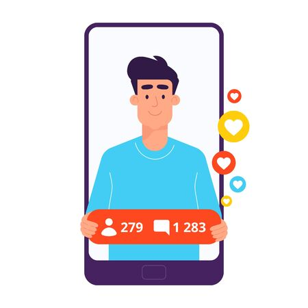 Man in smartphone. Blogger, chat vector flat design illustration. Different apps, chatbot, taxi theme. Cool design and vector art.
