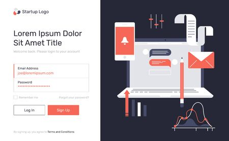 Log in, sign up web forms with the detailed description, laptop, phone, diagrams, graphic elements. Vector flat design illustration. Pop up with buttons and inputs.