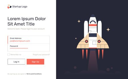 Log in, sign up web forms with the detailed description and space shuttle. Vector flat design illustration. Pop up with buttons and inputs. Illusztráció