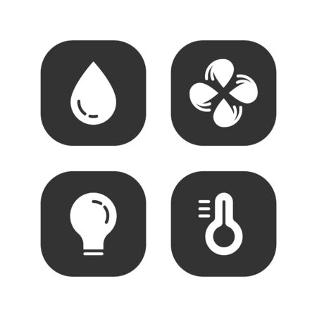 Set of web elements for ui ux design, temperature icons: rain drop, ventilation, lamp, thermometer. Vector flat design.