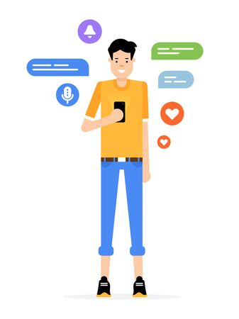 Young blogger in a chat flat design illustration. Funny guy with the smartphoe. Communications in a social media flat design illustration.