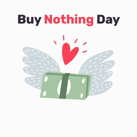 Buy Nothing Day, BDN, sign concept illustration against consumerism. Stop consumerism eco symbol icon. Illustration of examine the issue of overconsumption.  Иллюстрация