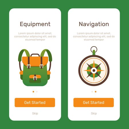 Travel app start ui web page. Graphic design web element. Backpack with compass flat design illustrations.