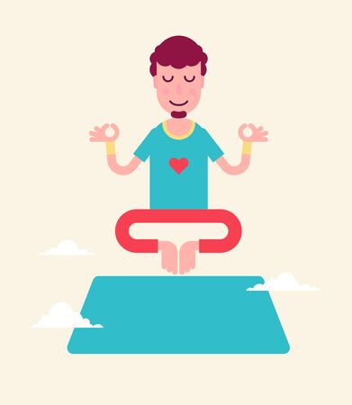 Yoga man character stickers presented in an asanas. Young beautiful man is doing exercises. Fully easy to edit vector illustration. Perfect for modern lifestyle posters.