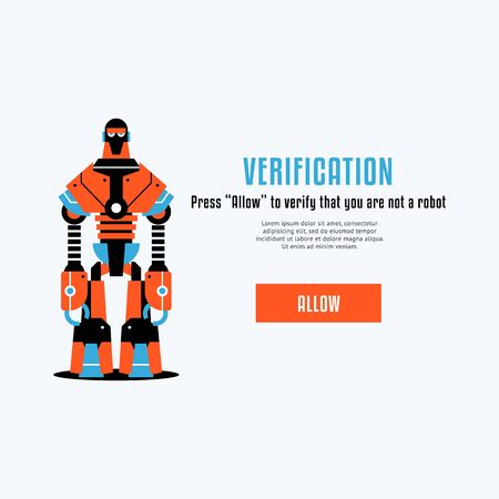 The chat bot vector design illustration. Modern flat style. Chat bot icon. Logo design. UI UX element for web design. Verification page.