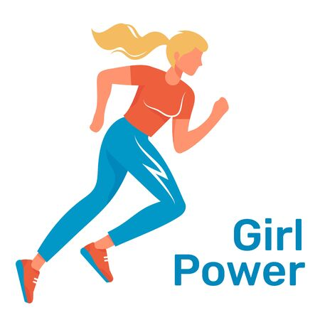 City run. Lovely vector flat design on fitness workout running woman isolated on a background. Sport friendly caucasian smiling female character running. Girl power illustration.
