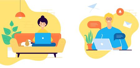 Modern flat vector illustration concept of woman and man working from office and home. Woman setaing on the cozy sofa and man character behind the working place. Coworking concept.