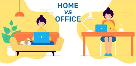 Modern flat vector illustration concept of woman making web page design seating on sofa and behind the table. Woman character behind the working place. Home vs office working place.