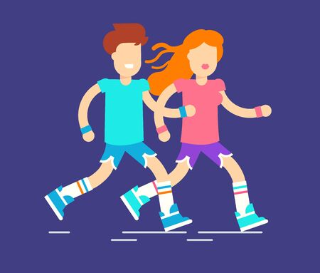 Two characters man and woman running on the street and spending time together. fitness marathon flat design illustration.