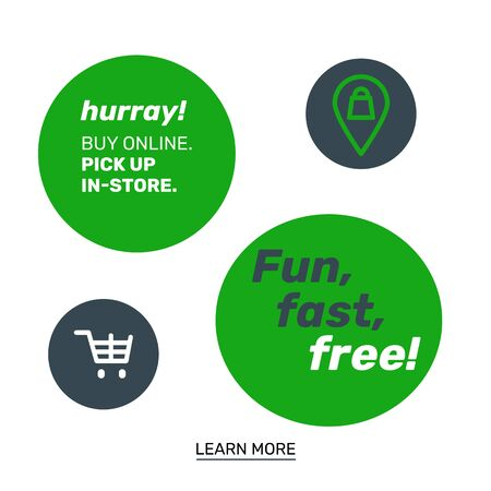 Web banners for the online shopping delivery service. Tag icon and vehicle moving from shopping point to the customer address. Simple vector design.