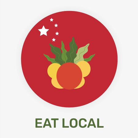 Chinese eat local concept vector illustration. National flag of China with the fresh fruits. Иллюстрация