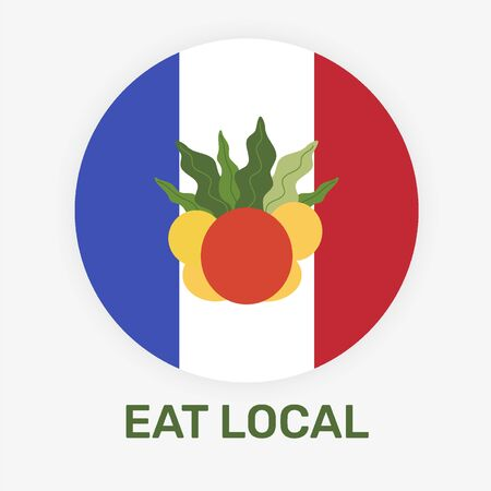 French eat local concept vector illustration. National flag of France with the fresh fruits.