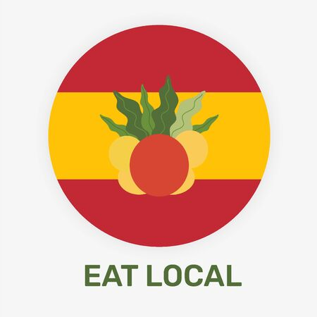 Spanish eat local concept vector illustration. National flag of Spane with the fresh fruits. Иллюстрация