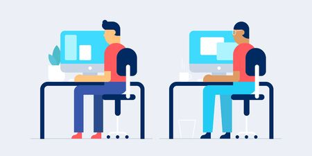 The workplace and workspace flat design vector illustration. People working concept.