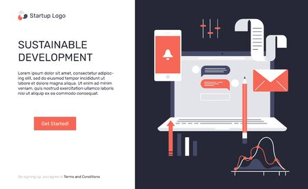 The concept for the sustainable development. UI UX web elements. Web banners vector flat design. Laptop, mobile, bell, lettters and diagrams.