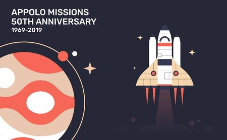 Lunar mission. Space illustrtaion. vector illustration for the 60th anniversary appolo mission. Super cool poster.