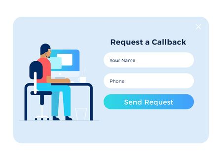 Call back pop up form with call center assistant. UI UX web elements. Flat design.