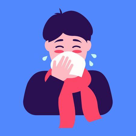Flu season. Flat character sneezing. Lovely flat design illustration.