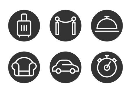 Icon set for airport benefits, fast line, vip terminal, business lounge, transfer to the plane, comfortable trip. Line art. Pixel perfect. Vector design. Stockfoto - 139448181
