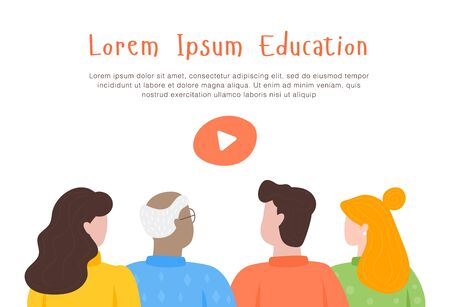 The online courses start web page. The mascot for video tutorials. People in group. Online courses, education, lessons. Flat design modern illustration. Banque d'images - 137408587