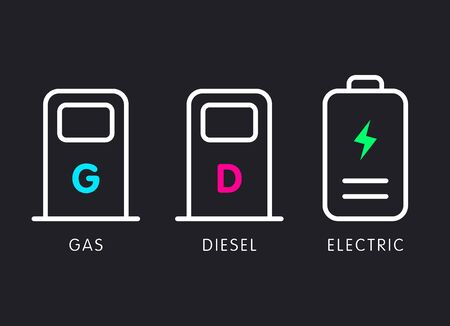 Gas, diesel, electronic icon set. Modern heon colors, vector flat design illustration.
