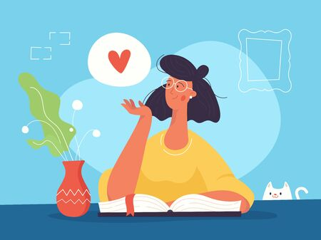Reading girl with the books and love heart sign. Modern flat design style. Illustration for web pages, book app, books and posters.  Illusztráció