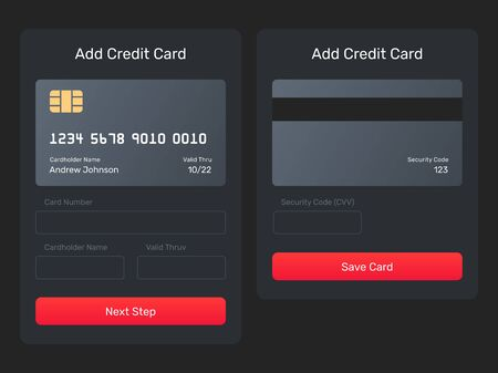 Add credit card web element from the mobile app. UI element, form, pop up. Save, add card, send mone form with the credit card image.