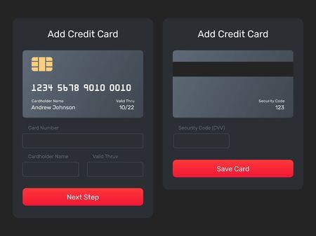 Agregue un elemento web de tarjeta de crédito desde la aplicación móvil. Elemento de interfaz de usuario, formulario, emergente. Guardar, agregar tarjeta, enviar formulario monetario con la imagen de la tarjeta de crédito.