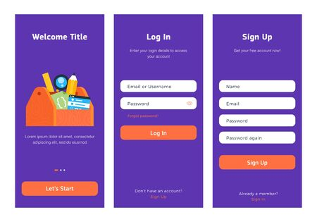 Log in, sign up web forms with the detailed description. Vector design. Pop up with buttons and inputs. UI, UX elements, tool box with staff.